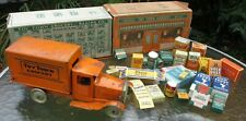 Metalcraft USA 1928 Toy Town Grocery Store cartons boxes lorry truck  steel
