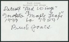 Buck Jones Red Wings Maple Leafs Hockey Autograph Signed 3x5 Index Card