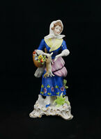 Dresden Figurine Young Lady Holding Rabbit - Restored