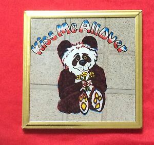 """Mirror Decorative-Printed Teddy Bear-Gold Framed-Approx 4""""x4""""-New-RARE FIND"""
