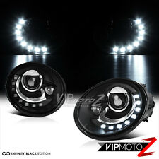 "1998-2005 Volkswagen VW New Beetle ""LED DRL"" Black Projector Headlights Assembly"