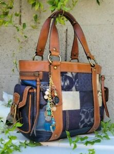 COACH Denim Blue LTd ED. Patchwork Whiskey Leather Shoulder Tote Handbag 10002
