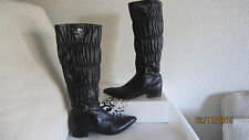 Prada Nappa Ruched Black Leather  Boots Size 36 US 6 $1600  Gauffre