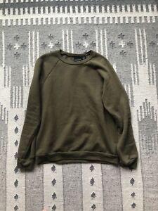 Original American Apparel Khaki Green Californian Fleece Sweatshirt Medium