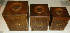 Vintage Wooden Dove Tail Eagle Farm House Nesting Canisters Flour Sugar Coffee