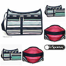 LeSportsac Beach Stripe Deluxe Everyday Bag + Cosmetic Bag Free Ship NWT D828