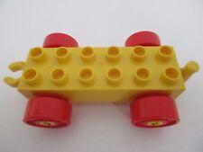 LEGO DUPLO 2312 - Car Base 2x6 Wagon Jaune avec Roues Rouges et Crochet Ouvert