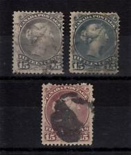 Canada 1868/ 1878 Used 15c QV Queen Victoria Large Heads Shades 3 Stamps#CA2462