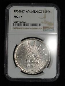 NGC MS62 1902 Mo AM MEXICO SILVER UN PESO CAP & RAYS COIN MEXICO CITY MINT