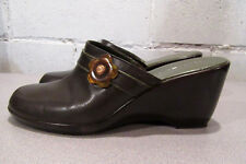 Tommy Hilfiger Women's Size 9M Brown & Green Leather Wedge Mules/Clogs