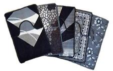 Black/ Grey 2 Piece Toilet Cover Set Rug Mat Bathroom With Rubber Back Anti Slip