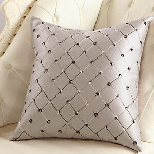 "17"" Luxury Diamond Scatter Waist Cushion Cover Sofa Room Pillow Case Daily Decor"