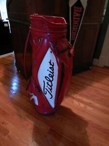 Vintage Rare Red Titleist Staff Bag - excellent condition with cover!