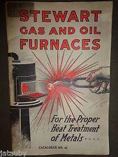Rare STEWART GAS OIL FURNACES CATALOG No. 41 PRICE LIST vintage antique Chicago