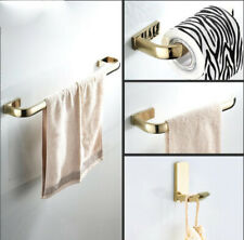Bathroom Towel Rail Rack Bar Hanger Toilet Roll Paper Holder Wall Hook Brass Set