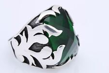 Ottoman Turkish Jewelry Shiny Emerald 925 Sterling Silver Men's Ring Size 10