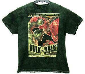 Hulk vs Hulk Buster Men's Size Large T Shirt Distressed Avengers