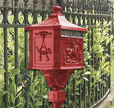 Large Ornate Victorian Red Style Cast Pedestal Mail Post Box Letter Box