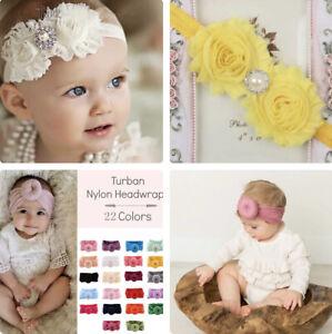 UK Baby Toddler Girls Hair Band Cutton Elastic Turban and Flower Headband