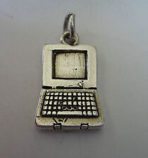 Sterling Silver 21x13mm Teacher School Computer Laptop Charm