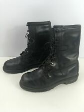 MENS BLACK LEATHER COMBAT MILITARY HUNTING LACE UP WORK BOOTS UK 9.5 R [CS] 5-3