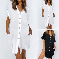 Size Women's Summer Smock Dress Shirt Ladies Holiday Beach Casual Loose Sundress
