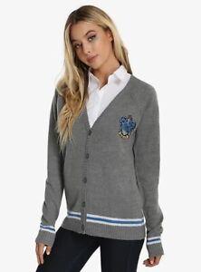 Harry Potter Ravenclaw  Cardigan Sweater Gray Stripe Crest Size Medium