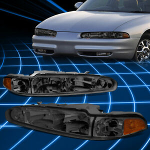 For 98-02 Oldsmobile Intrigue OE Style Smoked/Amber Side Headlights Replacement