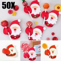 Wholesale 50pcs Christmas Lollipop Stick Paper Candy Chocolate DIY Xmas Decors