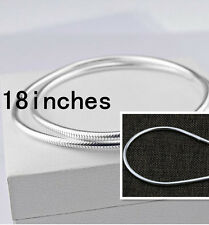 "HOT 18"" 925 Sterling Silver Plated 3MM Snake Chain Fashion Men Necklace Pendants"