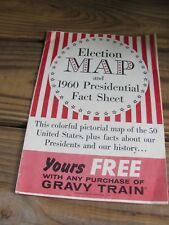 1960~Kennedy~Nixon~Presidential Fact Sheet~Election Map~Gravy Train~Giveaway