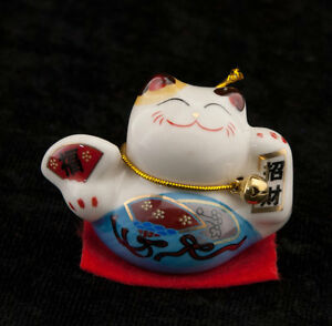Gatto Giapponese Maneki Neko 4.9 CM Blu IN Ceramica 357