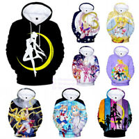 Unisex Anime Sailor Moon 3D Print Hoodies Women Casual Pullover Coat Sweatshirt