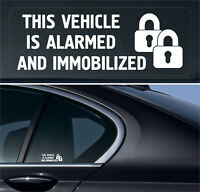 4 x Alarmed Immobilized Sticker Sign Car Vehicle Safety Warning locks Reverse +