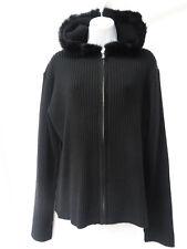 NILS Womens Black Ribbed Hooded Faux Fur Zip Up Wool Ski Cardigan Sweater XL