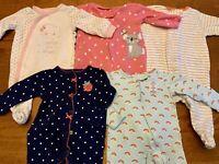 HUGE Newborn Baby Girl Clothes Sleeper Footie Pajamas Zipper PJs Lot Rainbow
