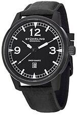 NEW Stuhrling Original 1129Q.04 Men's Condor Black Dial Black Strap Black Watch