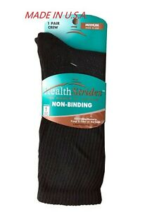 "COPPER SOLE ® ZONE DIABETIC BLACK CREW SOCKS  ""MADE IN USA &  NON-BINDING"""
