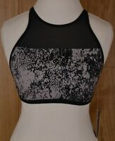 NWT Nike Women's High Neck Swim Top Black Gray Mesh Printed NESS8237-001