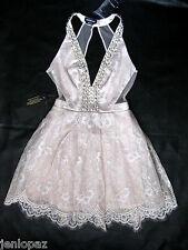NWT bebe gray cream lace mesh deep v neck flare embellished top dress M medium 8