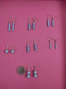 Lotto 7 paia di orecchini pendenti in turchese