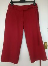 Gorgeous NEXT Cherry Red Linen Blend Cropped Trousers UK 12 EUR 40
