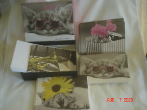 """NEW BOXED 2009 GRAPHIQUE """" KITTY GLITZ """" 20 NOTECARDS & ENVS. 4 Designs w/ CATS"""