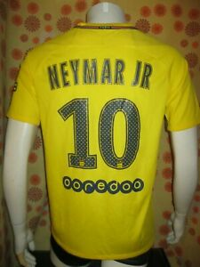 Ancien MAILLOT NIKE PARIS SAINT-GERMAIN PSG #10 NEYMAR JR AWAY JAUNE TM Foot