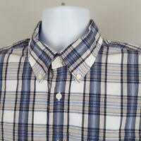 Tommy Hilfiger Mens Large Button Down Short Sleeve Shirt Pocket Flag logo (L)