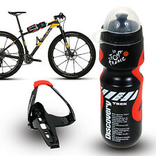 650ml Outdoor Water Bottle+Holder Cage Rack MTB Cycling Road Bike Bicycle Black