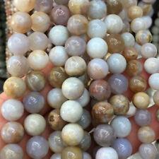 Achat naturfarbend grau - beige 6 - 12 mm, 1 Strang BACATUS Edelsteine #4181