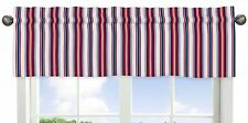 Red White And Blue Stripe Window Valance Curtain For Sweet Jojo Nautical Bedding