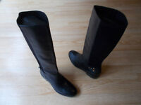 Cole Haan Tall Riding Boots Black Leather Suede Buckle Pull On sz 9.5 B NEW