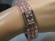 "Vintage Pink Stone Triple Strand Bracelet, Stretch, Rhinestones, 7/8"" Wide"